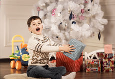 Boy with New Year presents Stock Photography