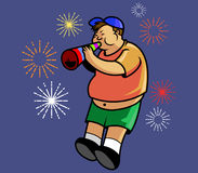 Boy And New Year Trumpet. Vector illustration of fat bow blow trumpet Royalty Free Stock Image