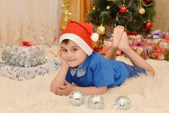Boy and new year stock images