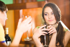Boy with nice girl drink wine Royalty Free Stock Photo