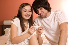 Boy and nice girl with thermometer Royalty Free Stock Photos