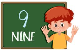 A boy with nine finger gesture royalty free illustration