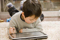 Boy and notebook royalty free stock images