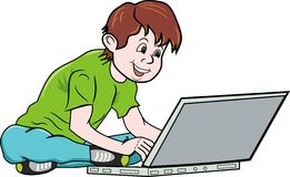 Boy and notebook stock illustration
