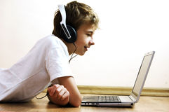 Boy with notebook Stock Photo