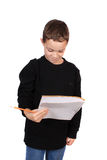 Boy with notebook and pencil Royalty Free Stock Image