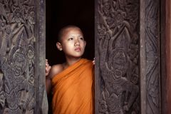 The boy or novice monk buddhist in religion buddhism at Thailand royalty free stock photography
