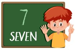 A boy with number hand gesture royalty free illustration