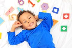 Boy with numbers. Image of boy with numbers royalty free stock images