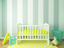 Boy nursery. Nursery interior, children room, playroom, interior, 3d render Stock Photo