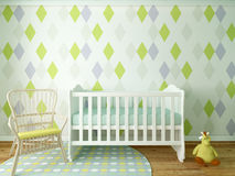Boy nursery. Nursery interior, children room, playroom, interior, 3d render Royalty Free Stock Photography