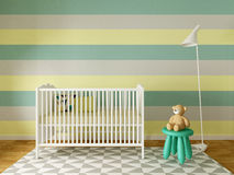 Boy nursery. Nursery interior, children room, playroom, interior, 3d render Stock Photography