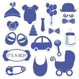 Boy 18 objects clip art set. Newborn, essentials shopping list. stuff for a newborn. plan purchases for a newborn. buy. Baby boy 18 objects clip art set. Set of stock illustration