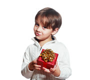 Boy offering a christmas present Stock Photography
