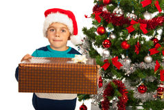 Boy offering Christmas present Stock Image
