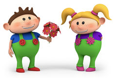 Boy offering girl flowers. Cute little cartoon boy offering girl flowers - high quality 3d illustration royalty free illustration
