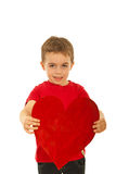 Boy offering heart shape Royalty Free Stock Images