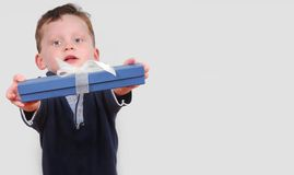 Boy Offering Prsent Royalty Free Stock Images