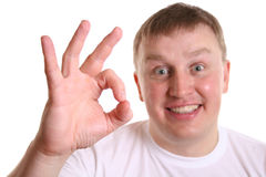 Boy with ok sign royalty free stock photos