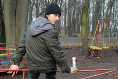 Boy at a old abandoned playground Royalty Free Stock Photography