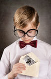 Boy with the old letter Stock Photo