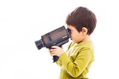 Boy with old video recorder Royalty Free Stock Images
