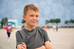 Boy in the Olympic Village in Beijing Royalty Free Stock Images