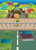 Boy On Overpass Stock Images