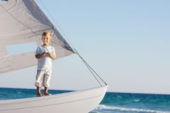 Boy onboard sea yacht Stock Photography