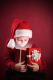 boy open christmas gift-box Royalty Free Stock Images