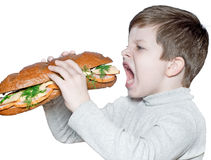A boy with an open sandwich royalty free stock images