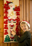 Boy opening Advent calendar Stock Photo