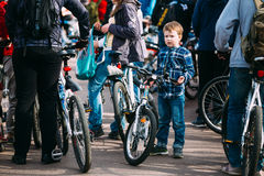 Boy at opening of the cycling season in Gomel, Belarus Royalty Free Stock Photography