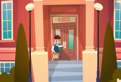 Boy Opening School Door Pupil Go To Classroom In Autumn. Flat Vector Illustration Stock Photo