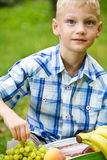 Boy opens picnic bag with fruits Stock Photo