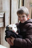 Boy with an Opossum Stock Photography