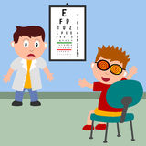Boy and Optician. A boy with funny expression and glasses during an eyes checkup. Eps file available Royalty Free Stock Image