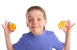 Boy with an orange Royalty Free Stock Image