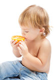 Boy with an orange Royalty Free Stock Photo