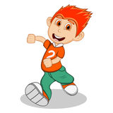 Boy with orange blouse and green trousers running cartoon Royalty Free Stock Photo