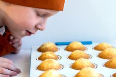 A boy in an orange cap looks at the cooked cupcakes and sniffs them. Close-up. royalty free stock photos