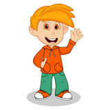 Boy with orange jacket and green trousers waving his hand cartoon Stock Image