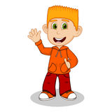 Boy with orange jacket and red trousers waving his hand cartoon Royalty Free Stock Photo