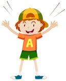 Boy in orange shirt wearing cap. Illustration Royalty Free Stock Images
