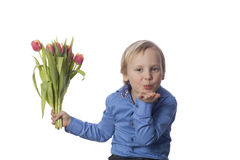 Boy send butterfly kiss Stock Images