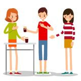 Boy orders a girl a cup of coffee. Young man asks a girl-seller to sell him two cups of coffee. Illustration in flat style. Friend buys a girlfriend a cup of Stock Photography