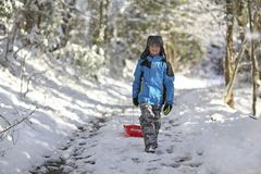 Boy out sledding in the snow. Boy walking with his sledge sledding in the winter snow royalty free stock photo