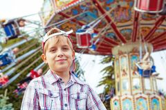 Boy outdoor in the amusement park Stock Image