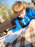 Boy in outdoor restaurant Royalty Free Stock Photo