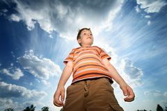 Boy outdoors Stock Photo